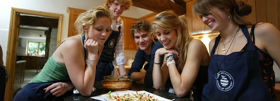 Students Looking At Food