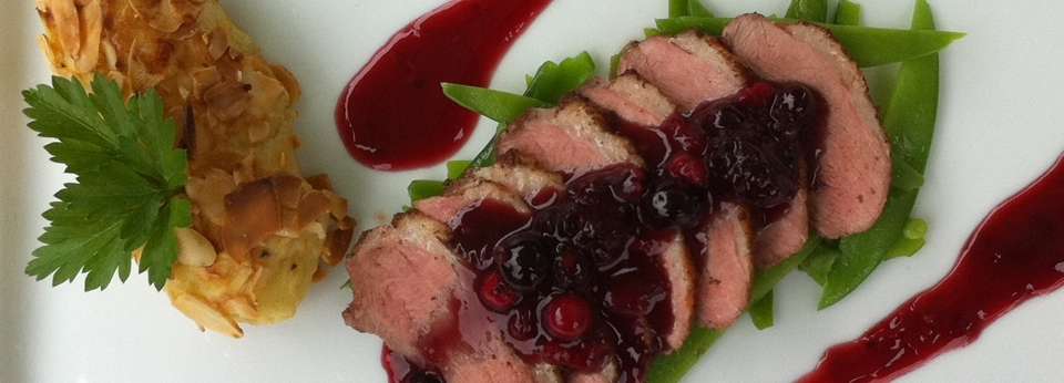 Duck and wild berry sauce